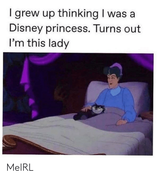A Disney: I grew up thinking I was a  Disney princess. Turns out  I'm this lady MeIRL