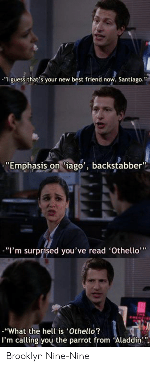 "Brooklyn: ""I guess that's your new best friend now, Santiago.""  ""Emphasis oniago', backstabber  ""I'm surprised you've read 'Othello""  ""What the hell is Othello?  I'm calling you the parrot from Aladdin"" Brooklyn Nine-Nine"