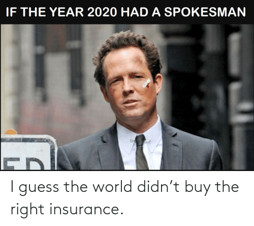 Didn: I guess the world didn't buy the right insurance.