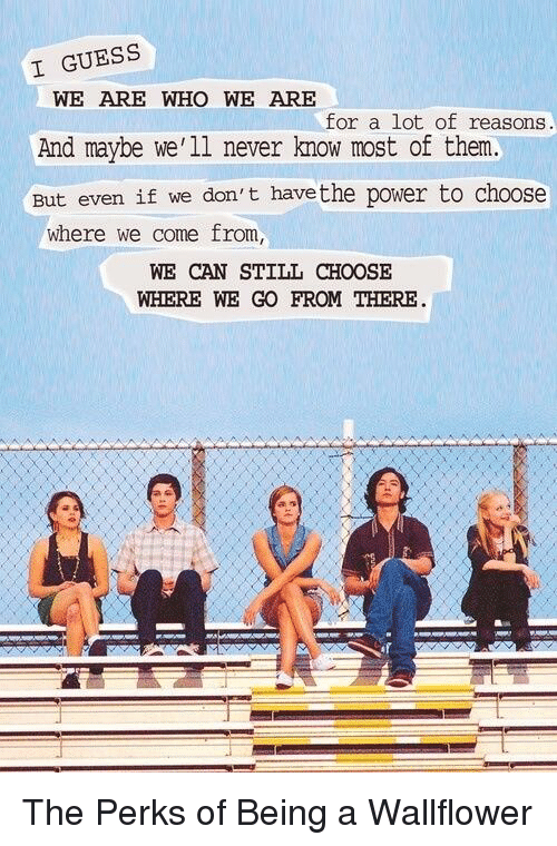 memes: I GUESS  WE ARE WHO WE ARE  for a lot of reasons  And maybe we'll never know most of them.  But even if we don't havethe power to choose  where we come from,  WE CAN STILL CHOOSE  WHERE WE GO FROM THERE The Perks of Being a Wallflower