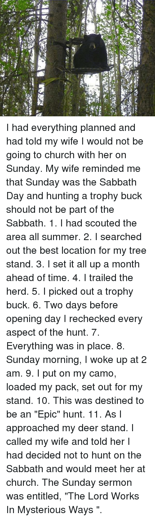 """the sundays: I had everything planned and had told my wife I would not be going to church with her on Sunday. My wife reminded me that Sunday was the Sabbath Day and hunting a trophy buck should not be part of the Sabbath.   1. I had scouted the area all summer.   2. I searched out the best location for my tree stand.   3. I set it all up a month ahead of time.   4. I trailed the herd.   5. I picked out a trophy buck.   6. Two days before opening day I rechecked every aspect of the hunt.   7. Everything was in place.   8. Sunday morning, I woke up at 2 am.   9. I put on my camo, loaded my pack, set out for my stand.   10. This was destined to be an """"Epic"""" hunt.   11. As I approached my deer stand.    I called my wife and told her I had decided not to hunt on the Sabbath and would meet her at church. The Sunday sermon was entitled, """"The Lord Works In Mysterious Ways """"."""