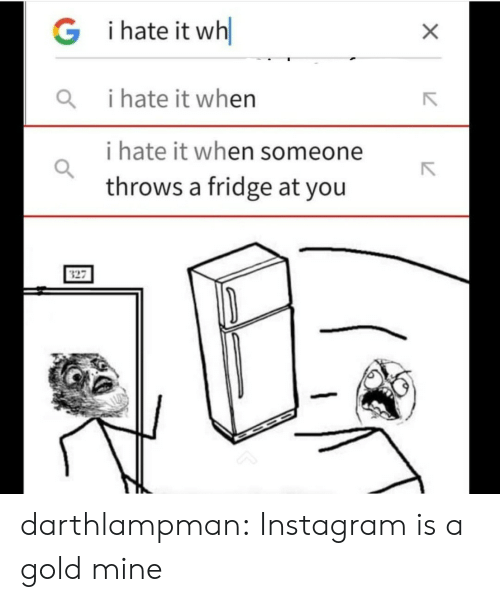 I Hate It When I: i hate it wh  G  i hate it when  i hate it when someone  throws a fridge at you  X darthlampman:  Instagram is a gold mine