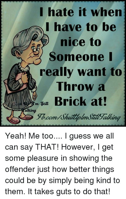 Memes, Being Kind, and 🤖: I hate it when  I have to be  nice to  Someone I  really want to  Throw a  Brick at  m Stine  canal Yeah! Me too.... I guess we all can say THAT! However, I get some pleasure in showing the offender just how better things could be by simply being kind to them. It takes guts to do that!