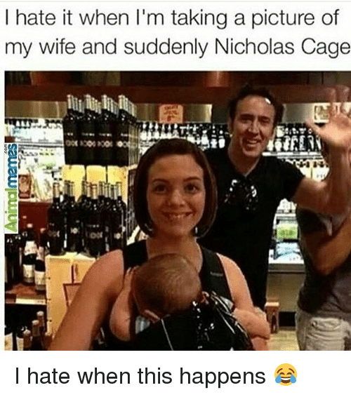 Pictures Of My Wife: I hate it when I'm taking a picture of  my wife and suddenly Nicholas Cage I hate when this happens 😂