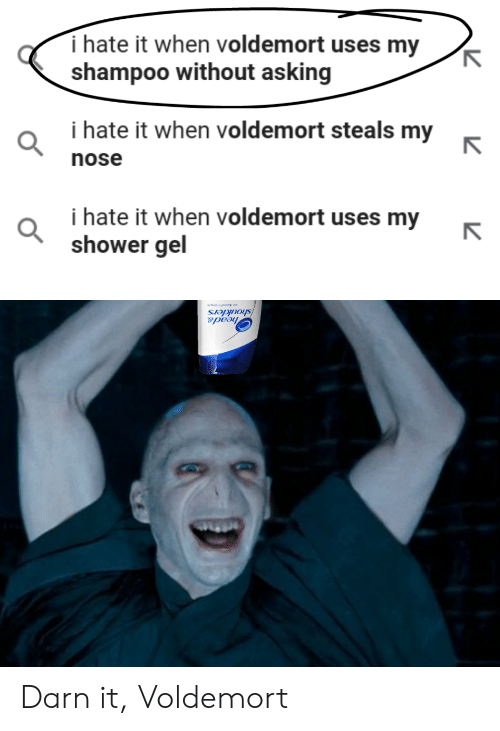 I Hate It When Voldemort Uses My Shampoo: i hate it when voldemort uses my  shampoo without asking  i hate it when voldemort steals my  nose  i hate it when voldemort uses my  shower gel  head& Darn it, Voldemort