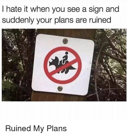 You, Sign, and I Hate It When: I hate it when you see a sign and  suddenly your plans are ruined Ruined My Plans