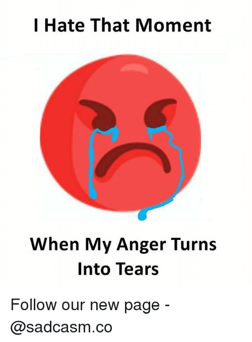 Memes, 🤖, and Page: I Hate That Moment  When My Anger Turns  Into Tears Follow our new page - @sadcasm.co