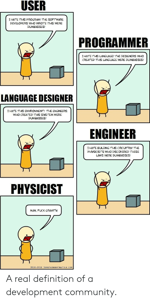 Who Created: I HATE THIS PROGRAM! THE SOFTWARE  DEVELOPERS WHO WROTE THIS WERE  DUMBASSES!  PROGRAMMER  IHATE THS LANGUAGE! THE DESIGNERS WHO  CREAT ED THIS LANGUAGE WERE DUMBASSES!  ギ  LANGUAGE DESIGNER  I HATE THİS ENVIRONMENT, THE ENGINEERS  WHO CREATED THIS SYSTEM WERE  DUMBASSES!  ENGINEER  I HATE BULDING THS CIRCUTRY! THE  PHYSICISTS WHO DISCOVERED THESE  LAWS WERE DUMBASSES!  PHYSICIST  MAN, FUCK GRAVMTY  2010-2011 SOMETHINGOF THATILK COM A real definition of a development community.