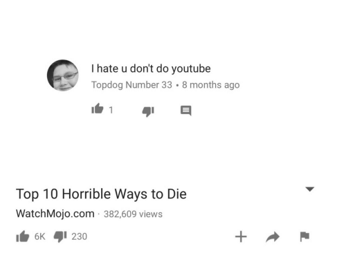 ways to die: I hate u don't do youtube  Topdog Number 33 . 8 months ago  Top 10 Horrible Ways to Die  WatchMojo.com 382,609 views  6K 1230
