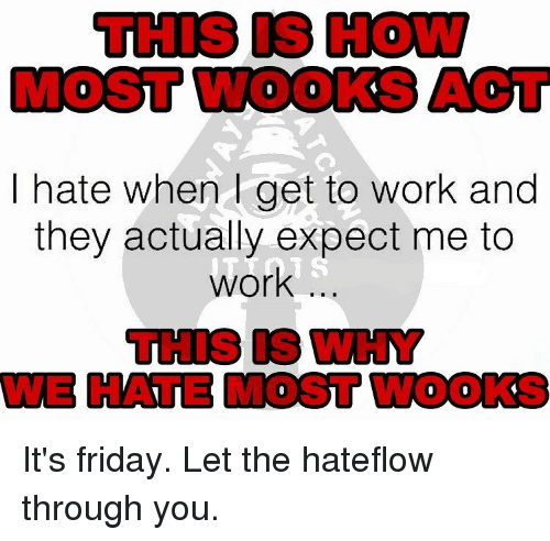 Memes, 🤖, and Working: I hate when get to work and  they actually expect me to  work It's friday. Let the hateflow through you.