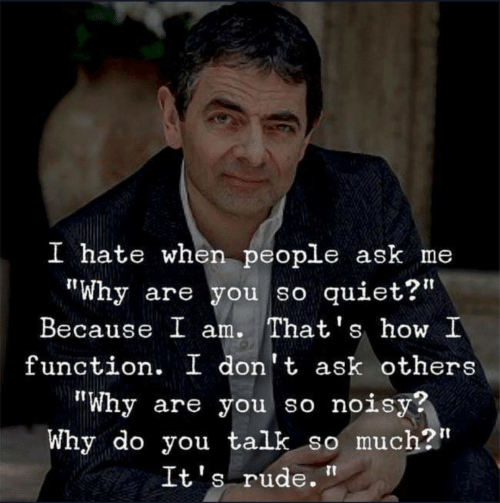 """I Hate When People: I hate when people ask me  """"Why are you so quiet?'  Because I am. That's how I  function. I don't ask others  """"Why are you so noisy?  Why do you talk so much?""""  It's rude."""