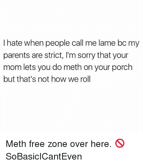 Mething: I hate when people call me lame bc my  parents are strict, I'm sorry that your  mom lets you do meth on your porch  but that's not how we rol Meth free zone over here. 🚫 SoBasicICantEven