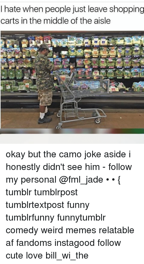 Ironic: I hate when people just leave shopping  carts in the middle of the aisle okay but the camo joke aside i honestly didn't see him - follow my personal @fml_jade • • { tumblr tumblrpost tumblrtextpost funny tumblrfunny funnytumblr comedy weird memes relatable af fandoms instagood follow cute love bill_wi_the