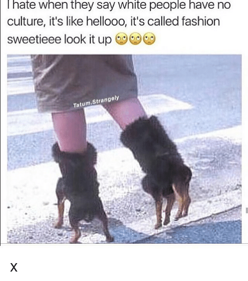 Dank Memes, Hate, and  Hates: I hate when they say White people have no  culture, it's like hellooo, it's called fashion  sweetieee look it up  Tatum  Strangoly x