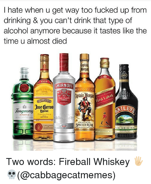 fireball whiskey: I hate when u get way too fucked up from  drinking & you can't drink that type of  alcohol anymore because it tastes like the  time u almost died  SMIRNOFF  17S5.  bel  TOD3A  Jost nervo  ALLEY  IMPORT  ORIGINAL  SPICED RUM  100  RY GIN Two words: Fireball Whiskey 🖐🏼💀(@cabbagecatmemes)