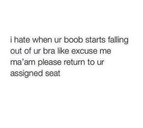 Memes, Boob, and 🤖: i hate when ur boob starts falling  out of ur bra like excuse me  ma'am please return to ur  assigned seat