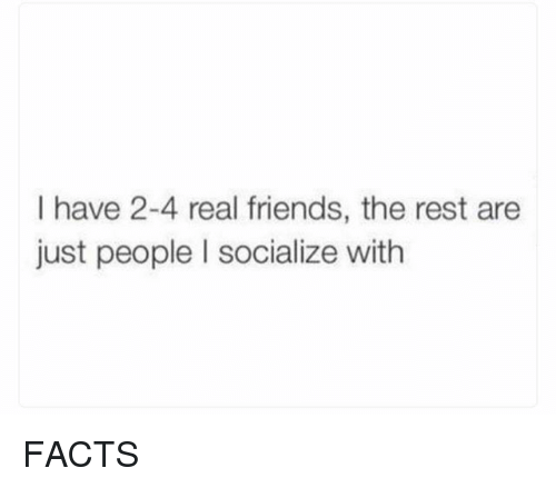 Facts, Friends, and Memes: I have 2-4 real friends, the rest are  just people I socialize with FACTS