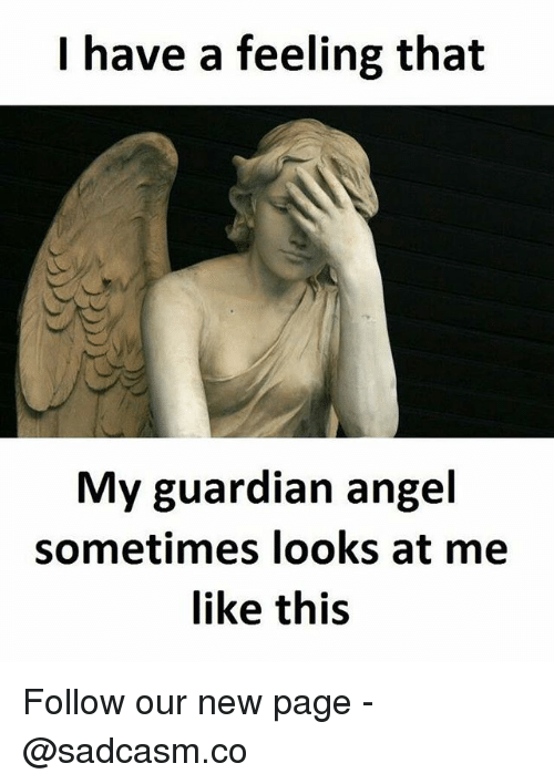 guardian angels: I have a feeling that  My guardian angel  sometimes looks at me  like this Follow our new page - @sadcasm.co