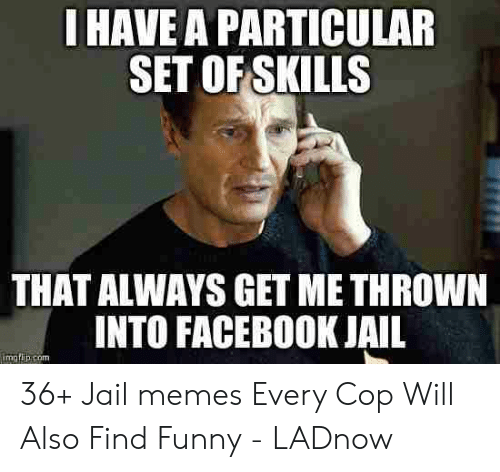 Jail Memes: I HAVE A PARTICULAR  SET OFSKILLS  THAT ALWAYS GET ME THROWN  INTO FACEBOOK JAIL  imatih.com 36+ Jail memes Every Cop Will Also Find Funny - LADnow