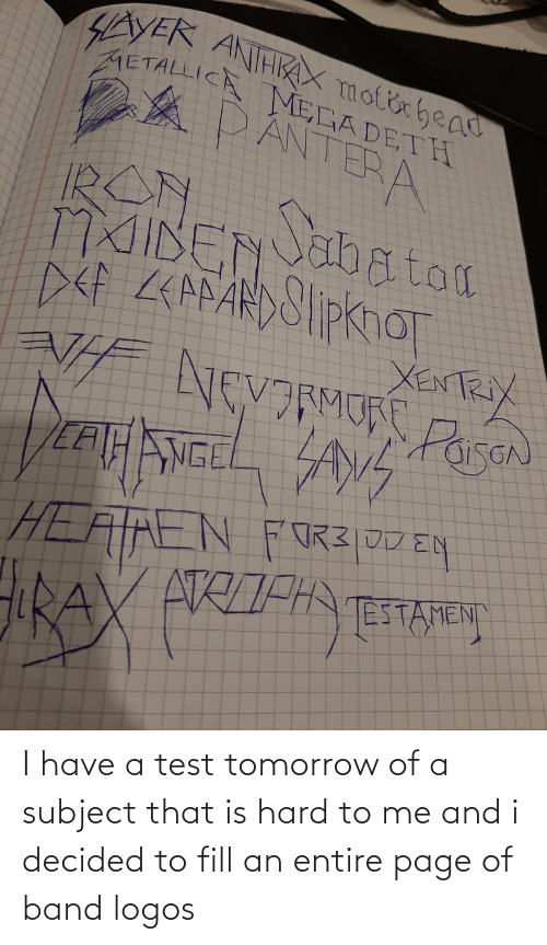 Logos: I have a test tomorrow of a subject that is hard to me and i decided to fill an entire page of band logos