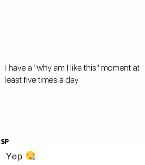 "Day, Why, and Moment: I have a ""why am I like this"" moment at  least five times a day  SP Yep 😪"
