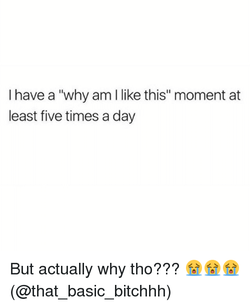 "Memes, 🤖, and Basic: I have a ""why am l like this"" moment at  least five times a day But actually why tho??? 😭😭😭(@that_basic_bitchhh)"