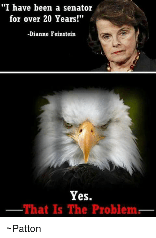 """Memes, Dianne Feinstein, and 🤖: """"I have been a senator  for over 20 Years!""""  -Dianne Feinstein  Yes.  That Is The Problem ~Patton"""