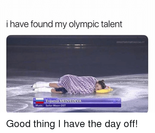 Music, Sailor Moon, and Good: i have found my olympic talent  Evgenia MEDVEDEVA  Sailor Moon OST  Music: Good thing I have the day off!