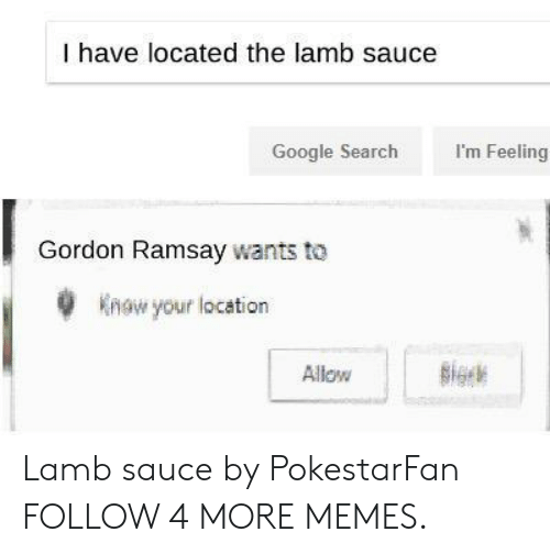 Lamb Sauce: I have located the lamb sauce  I'm Feeling  Google Search  Gordon Ramsay wants to  Know your location  Sigck  Allow Lamb sauce by PokestarFan FOLLOW 4 MORE MEMES.