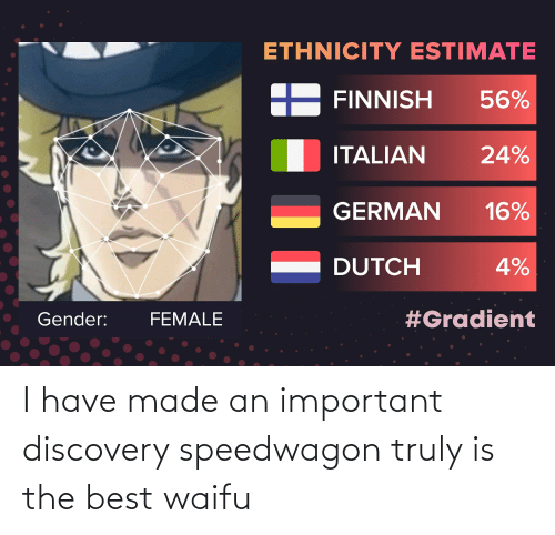 Best Waifu: I have made an important discovery speedwagon truly is the best waifu