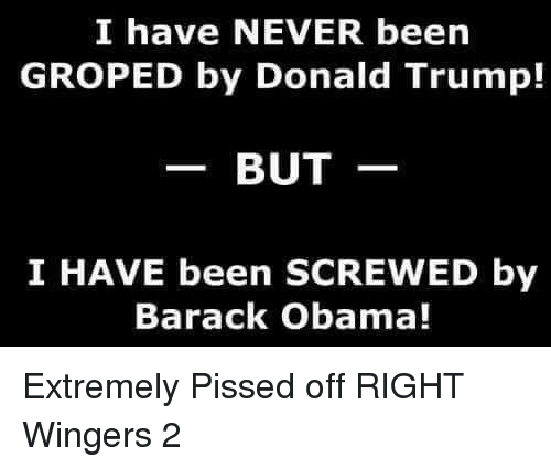 groped: I have NEVER been  GROPED by Donald Trump!  BUT  I HAVE been SCREWED by  Barack Obama! Extremely Pissed off RIGHT Wingers 2