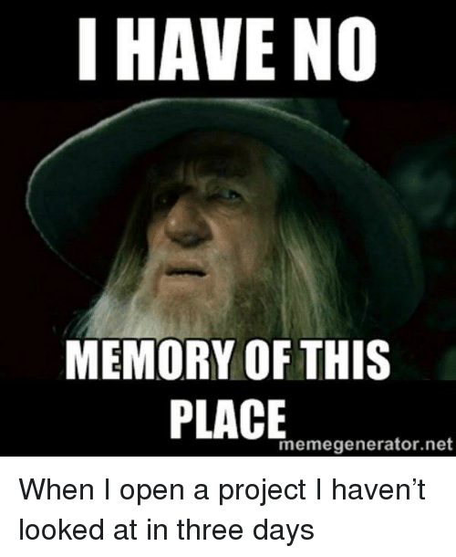 memegenerator: I HAVE NO  MEMORY OF THIS  memegenerator.net When I open a project I haven't looked at in three days