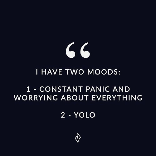 YOLO: I HAVE TWO MOODS:  1 CONSTANT PANIC AND  WORRYING ABOUT EVERYTHING  2 YOLO