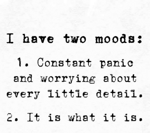 worrying: I have two moods:  . Constant panic  and worrying about  every little detail.  2. It is what it is.