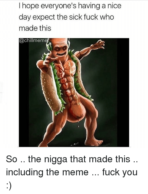Fuck You, Meme, and Memes: I hope everyone's having a nice  day expect the sick fuck who  made this  @chillmem So .. the nigga that made this .. including the meme ... fuck you :)