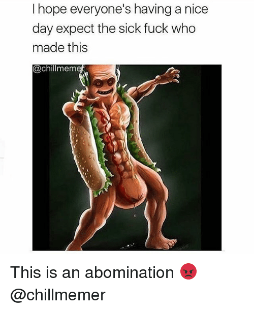 Memes, Fuck, and Sick: I hope everyone's having a nicee  day expect the sick fuck who  made this  @chillmem This is an abomination 😡 @chillmemer