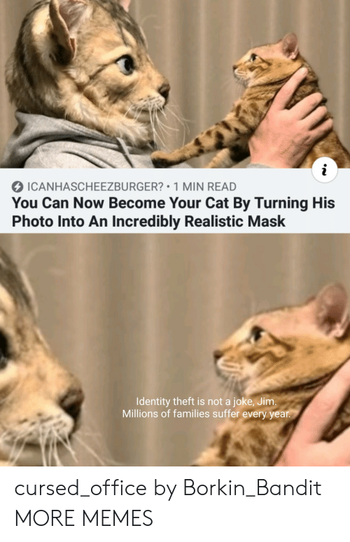 identity theft: i  ICANHASCHEEZBURGER? 1 MIN READ  You Can Now Become Your Cat By Turning His  Photo Into An Incredibly Realistic Mask  Identity theft is not a joke, Jim.  Millions of families suffer every year. cursed_office by Borkin_Bandit MORE MEMES