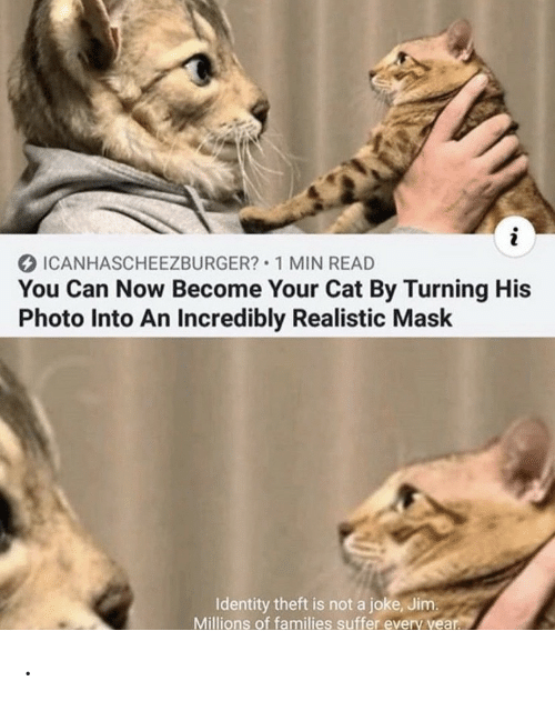 identity theft: i  ICANHASCHEEZBURGER? 1 MIN READ  You Can Now Become Your Cat By Turning His  Photo Into An Incredibly Realistic Mask  Identity theft is not a joke, Jim.  Millions of families suffer every year. .