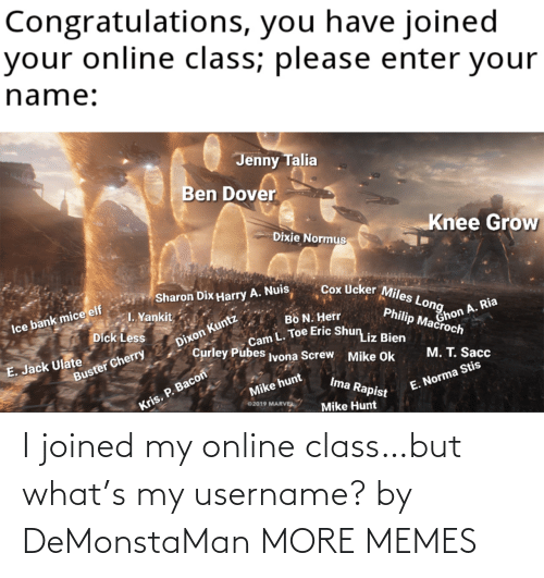online: I joined my online class…but what's my username? by DeMonstaMan MORE MEMES