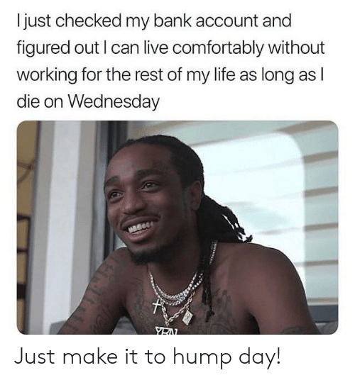 hump: I just checked my bank account and  figured out I can live comfortably without  working for the rest of my life as long as l  die on Wednesday Just make it to hump day!