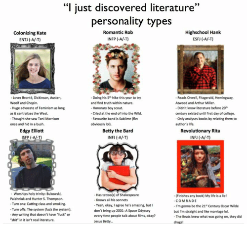 """Toni Morrison: """"I just discovered literature  33  personality types  Highschool Hank  Romantic Rob  Colonizing Kate  INFP AV.)  ENTJ (-AV-T)  Loves Bronte, Dickinson, Austen,  -Doing his 5 hike this year to try  Reads Orwel, Fitzgerald, Hemingway,  Woolf and Chopin.  and find truth within nature.  Atwood and Arthur Miller.  -Huge advocate of Feminism as long  Honorary boy scout.  -Didn't know literature before 20  -Cried at the end of Into the Wild.  century existed untilfirst day of college.  as it centralizes the West.  -Thought she saw Toni Morrison  -Favourite band is Sublime (fikn  -Only analyses books by relating them to  once and hid in abush.  obviously lol).  author's life.  Edgy Elliott  Betty the Bard  Revolutionary Rita  SFP  INFU AV-T)  Worships holy trinity. Bukowski.  Has tattoo(s) of Shakespeare  -(Finishes any book) Mylife is liel  Palahniuk and Hunter S. Thompson.  Knows all his sonnets  COMRADE  -Turn ons: Cutting class and smoking.  Yeah, okay, I agree he's amazing but  I'm gonna be the 21 Century Oscar Wilde  -Turn offs: The system (fuck the system).  don't bring up 2001:ASpace Odyssey  but rm straight and like marriage lol.  -Any writing that doesn't have fuck"""" or  every time people talk about films, okay?  -The Beats knew what was going on, they did  """"shit"""" in it isn't real literature.  Jesus Betty..."""