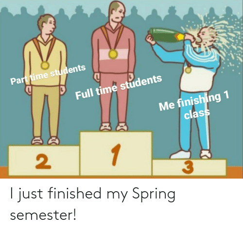 finished: I just finished my Spring semester!