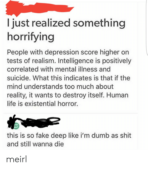 existential: I just realized something  horrifying  People with depression score higher on  tests of realism. Intelligence is positively  correlated with mental illness and  suicide. What this indicates is that if the  mind understands too much about  reality, it wants to destroy itself. Human  life is existential horror.  this is so fake deep like i'm dumb as shit  and still wanna die meirl