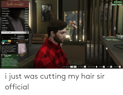 cutting: i just was cutting my hair sir official