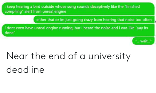 """unreal engine: i keep hearing a bird outside whose song sounds deceptively like the """"finished  compiling"""" alert from unreal engine  either that or im just going crazy from hearing that noise too often  i dont even have unreal engine running, but i heard the noise and i was like """"yay its  done  """".wait... Near the end of a university deadline"""