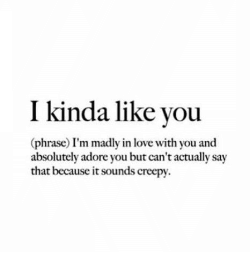 Kinda Like: I kinda like vou  (phrase) I'm madly in love with you and  absolutely adore you but can't actually say  that because it sounds creepy.