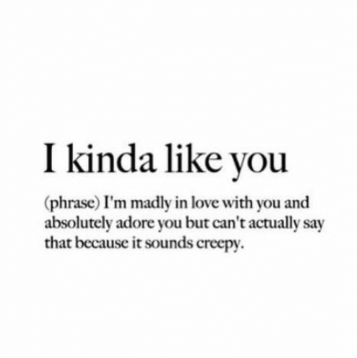 Kinda Like: I kinda like you  (phrase) I'm madly in love with you and  absolutely adore you but can't actually say  that because it sounds creepy