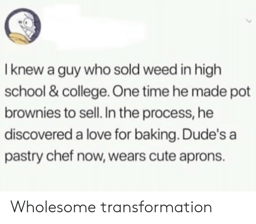 transformation: I knew a guy who sold weed in high  school & college. One time he made pot  brownies to sell. In the process, he  discovered a love for baking. Dude's a  pastry chef now, wears cute aprons. Wholesome transformation