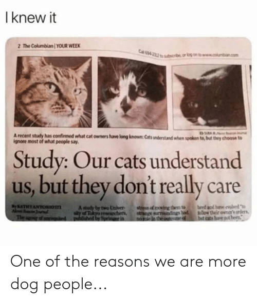 Cats, Memes, and 🤖: I knew it  2 The Columbian YOUR WEEK  69  A recent study has confirmed what cat owners have long known Cats understand when spoken to, but tey choose to  ignore most of whut people say.  Study: Our cats understand  us, but they dont really care  KATHYANTONIOA sudy bwoUnver  stress of oving them to  bee dhe oed One of the reasons we are more dog people...