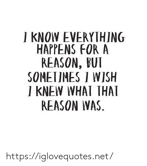 Bui: I KNOW EVERYTHING  HAPPENS FOR A  REASON, BUI  SOMETIMES I WISH  I KNEW WHAT THAT  REASON WAS https://iglovequotes.net/